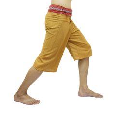 Yellow-Orange Thai Fisherman Pants Short 3/4 with Thai hand woven fabric on waist side, Wide Leg pants, Wrap pants, Unisex pants  $22.00 Free shipping