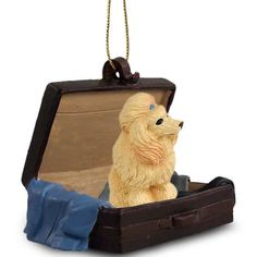 Elegant Hand Painted Apricot Poodle Traveling Companion Crafted in a Suitcase
