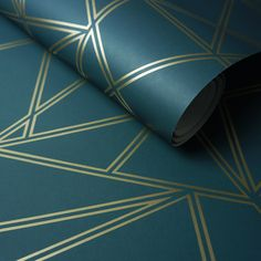 Paladium Geometric Wallpaper Teal / Gold Holden 90110 Home Geometric Wallpaper Teal, Bathroom Wallpaper Teal, Gold Wallpaper Living Room, Teal Living Rooms, Metallic Wallpaper, Green Wallpaper, My Living Room, Dining Rooms, Stone Wallpaper