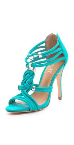 Schutz: India Braided Suede Sandals: Metallic links nestle in the knotted cord vamp of bright suede Schutz sandals. Exposed back zip and covered stiletto heel. Women's Shoes, Fab Shoes, Dream Shoes, Crazy Shoes, Cute Shoes, Me Too Shoes, Shoe Boots, Suede Sandals, Flip Flops