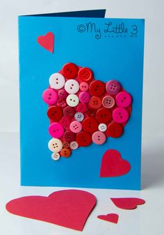 """Heart Button Card - free printable template. What a lovely way to say """"I Love You""""."""
