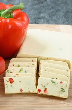 Vegan pepper jack cheese - it takes less than 30 minutes (or a little more?) to make your own homemade vegan pepper jack. slices perfectly for an easy app. Vegan Cheese Recipes, Vegan Foods, Vegan Dishes, Dairy Free Recipes, Raw Food Recipes, Vegetarian Recipes, Healthy Recipes, Gluten Free, Vegan Lunches