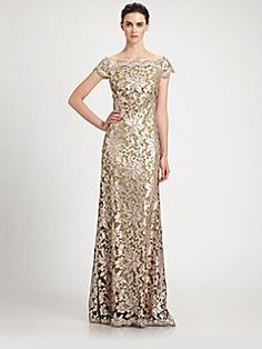 Tadashi Shoji - Off-The-Shoulder Sequined Lace Gown.... so pretty!!!