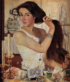 En el tocador (Zinaída Serebriakova, 1909)
