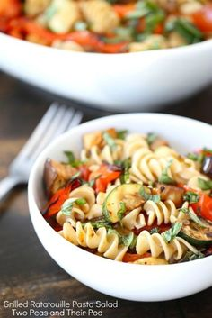 Grilled Ratatouille Pasta Salad...grilled eggplant, zucchini, tomato, red pepper; pasta; drizzle balsamic vinegar and olive oil over it and add fresh basil. good freshly made or chilled.