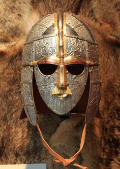 """smoking-ruins: """" Recreation of the helmet found in the Sutton Hoo ship burial, believed to be that of King Raedwald of East Anglia. Anglo Saxon, Elmo, Sutton Hoo, Life In The Uk, Ancient Armor, Germanic Tribes, Dark Ages, Historical Costume, Craft Ideas"""
