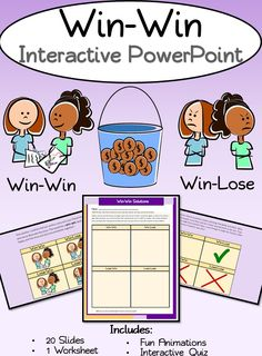 Win Win Interactive PowerPoint- Goes great with Habit 4: Think-Win-Win of Stephen Covey's 7 Habits of Happy Kids for teachers at Leader in Me schools. Includes animations, interactive portions, quizzes, and bonus worksheet! Perfect introduction to this habit!