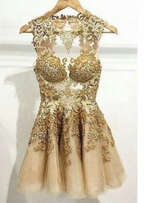 Simple-dress Handmade Scoop Short Gold Tulle  2015 Homecoming Dresses/Cocktail Dresses/Party Dresses  TUPD-70676