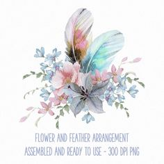 Watercolour Clip Art Bull Skull Design with Flowers, Feathers and Arrows