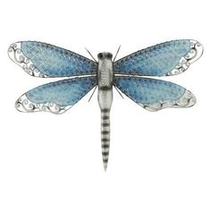 DecMode Metal Dragon Fly Wall Sculpture - Silver & Blue - 58526