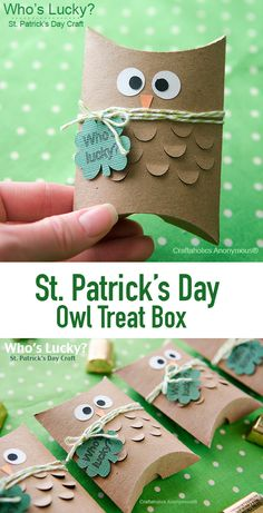 Adorable St. Patrick's Day Owl Treat boxes    The kids will love them! Tuck chocolate coins inside the box for a cute St. Patrick's Day gift idea.