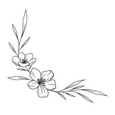 Simple Flower Drawing, Simple Flower Tattoo, Floral Drawing, Flower Tattoos, Simple Flower Design, Flower Tattoo Drawings, Simple Flowers To Draw, Flower Design Drawing, Thigh Tattoo Simple