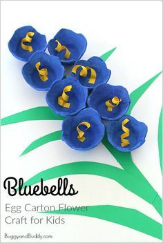 """Bluebells for Spring: Egg Carton Flower Craft for Kids- Perfect for spring, Easter, and Mother's Day! ~ <a href=""""http://BuggyandBuddy.com"""" rel=""""nofollow"""" target=""""_blank"""">BuggyandBuddy.com</a>"""