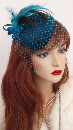 This is the kind of hat I was thinking of, now to find it in the states.... Vintage 1940s Style Fascinator Veil Dress Hat Velvet HAT Teal Turquoise ASCOT