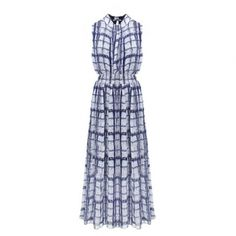Stylish Straight Plaid Tight Waist Maxi Sleeveless Dress