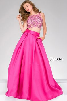 The beaded bodice paired with the satin blend skirt make this dress pink perfection! #JOVANI #47386