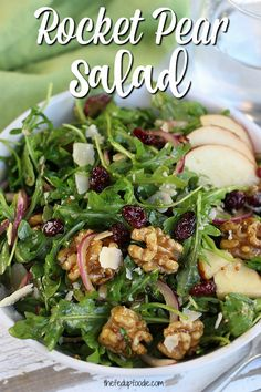 How To Make The Best Rocket Pear Salad- The Fed Up Foodie Arugula Pear Salad. This salad is beyond simple to make and tastes amazing. Everyone loves it and it gets the kids to eat more healthy options. Plus it saves great for lunch the next day. Arugula Salad Recipes, Best Salad Recipes, Salad Recipes For Dinner, Vegetarian Recipes, Cooking Recipes, Food Salad, Protein Recipes, Pasta Recipes, Mexican Salad Recipes