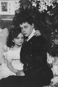 Her Imperial Highness Grand Duchess Xenia Alexandrovna (1875-1860), with her only daughter Princess Irina Alexandrovna (1895-1970).