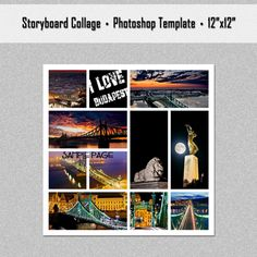 12x12 photo collage | Storyboard, Photo Collage Template, Photoshop Template 12x12 - Nr.19 ...