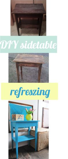 Small table, side table, turquoise, wooden, renovated. Blue decoration.