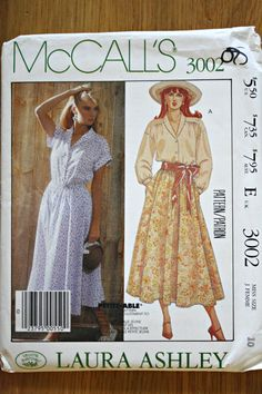 McCalls 3002 Laura Ashley Misses Blouse and Skirt by ChellysShoppe, $9.50