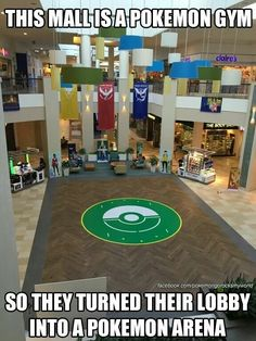 Mall is a gym so they turn their lobby into a Pokémon arena   this is so awesome!