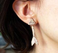 Double Sided Bronze Arrow Studs  ear от RachelPfefferDesigns, $82.00