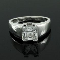 1.75ct Princess Cut VVS1 Diamond Solitaire Wide Band Ring  #AffinityJewelry #WideBand
