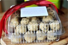 Give frozen cookie dough instead of baked goodies. Great for take-in dinners to new families or at the holidays.