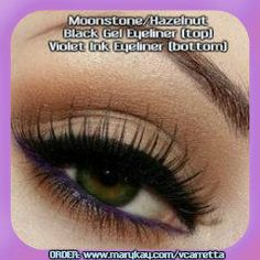 Create this look with Mineral Eye Color from Mary Kay in Moonstone and Hazelnut.  Line the top of the eye with Mary Kay Gel Eyeliner in black and line the bottom with Mary Kay Eyeliner in Violet Ink.  Finish with Mary Kay Ultimate Mascara in Black.  SHOP: www.marykay.com/vcarretta