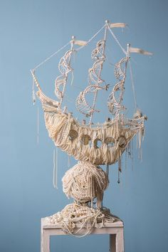 I Made Two Huge Galleon Ships From Old Pearl Necklaces by Ann Carrington