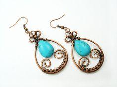 Turquoise earrings wire wrapped earrings by MargosHandmade on Etsy