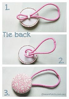 Clever Little Button Hair Tie fun bottons can be purchased in all sorts of designs and usually in sets , hearts, animals , flowers & more would looke so cute in a little girls hair or jeweled buttons in an array of colors for womens hair ,a lovely & vry marketable little idea ....going to do this myself .