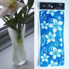 Foldbar vase – Blå med store blomster, 20,-
