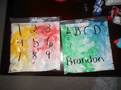 One Busy Mama and Teacher: Colored Shaving Cream Bags