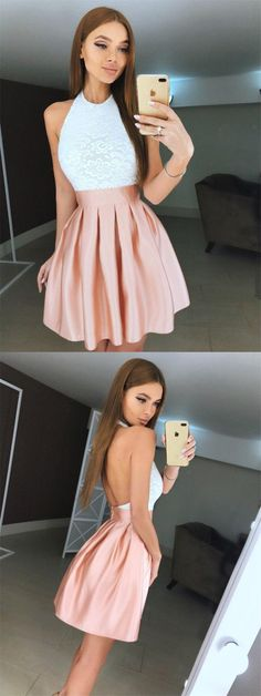 halter pink stian short homecoming dresses, simple white lace short graduation party dress for 8th grade, backless a line homecoming dresses short