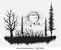 Strange forest.Silhouetteof trees. Hand drawn vector illustration