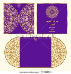 Wedding invitation or greeting card with classical ornament. Picture suitable for laser cutting or printing. Gold pattern on a blue background. Vector illustration.