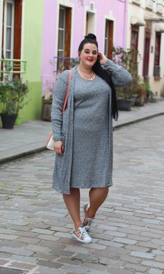 Plus size sporty chic outfit x knit dress   http://anaispenelope.blogspot.fr/2015/12/rue-cremieux.html
