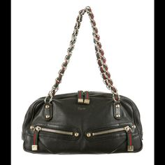 """100% AUTHENTIC GUCCI LEATHER SHOULDER BAG Black Gucci leather shoulder bag with silver-tone chain and red and green. Gucci web straps, zip pockets at front, wall zip pocket and top zip closure. Condition: Very Good. Measurements: Shoulder Strap Drop 9"""", Height 5.5"""", Width 13"""", Depth 4"""". Will consider offers. NO TRADES OR LOW BALL OFFERS! Gucci Bags Satchels"""