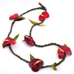 Red Antherium and Ti Leaf Lei   Price: $15.00