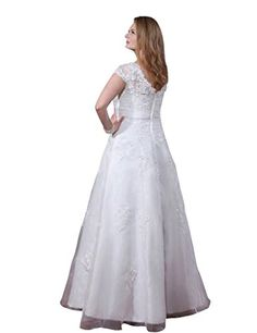a3514dc443 SecretCastle Women s Floor Length Cap Sleeves Wedding Dresses Bridal Gown  Plus size Lovely Cap Sleeves White Long Wedding Dresses Plus sizeReturn  policy  ...