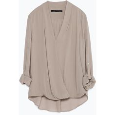Zara Draped Blouse ($70) ❤ liked on Polyvore featuring tops, blouses, shirts, zara, mink, zara shirt, brown blouse, brown tops, drapey top and draped blouse