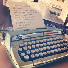 Window closeup #window #display #typewriter #lingerie #poetry #Bellefleur