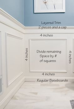 Wainscoting ideas for designing and installing a classic style wainscoting. This example utilizes the bathroom. Installing wainscoting adds an elegance to a room you can't get any other way. DIY project tutorial for classic box wainscoting. Installing Wainscoting, Wainscoting Styles, Wainscoting Height, Dining Room Wainscoting, Wainscoting Bathroom, Rustic Wainscoting, Painted Wainscoting, Basement Wainscoting, Picture Frame Wainscoting