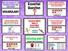 First Grade Envision Math Topic 3 Focus Wall $