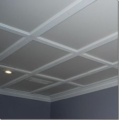 Drop ceiling tiles supported by molding. Looks like coffered ceiling! Drop ceiling tiles supported b House Design, New Homes, Diy Ceiling, Drop Ceiling Tiles, Basement Remodeling, House, Home Remodeling, Home, Basement Decor
