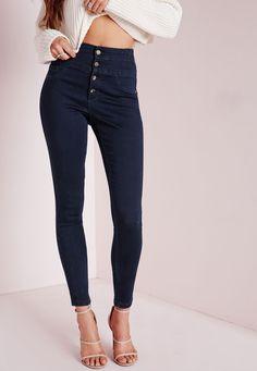 Missguided - Sinner High Waisted Skinny Jeans Indigo Blue