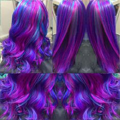 Bright #fuchsiahair #tealhair #purplehair #bluehair #pinkhair #neon #vivid #vividhair #unicornhair #rainbowhair #kenraprofessional… Subtle Hair Color, Bright Purple Hair, Which Hair Colour, Cute Hair Colors, Pretty Hair Color, Hair Color Purple, Pulp Riot Hair Color, Galaxy Hair, Coloured Hair