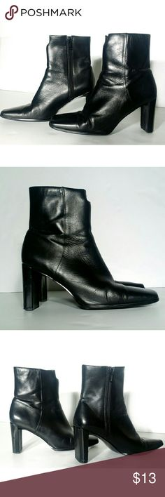 Anne Klein Womens Black Leather Heel Boots Some scratches on the back. Size 6.5 Fast shipping!! Anne Klein Shoes Heeled Boots